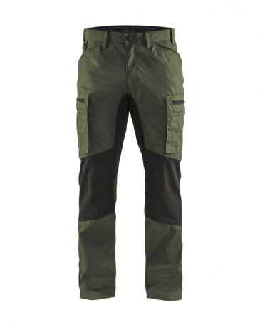 Blaklader 1459 Stretch Service Trousers - 65% Polyester/35% Cotton (Army Green/Black)